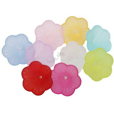 100pcs 161314 Wholesale Mixed Colors Acrylic Flowers Petal Beads Charms