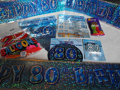 80TH BIRTHDAY PARTY PACK FLAGS  BALLOONS BANNERS MANS 80TH PARTY DECORATIONS