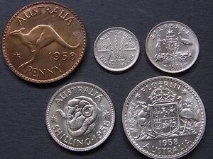 Australia-1958-Melbourne-Copper-amp-Silver-PROOF-Set-1d-3d-6d-1-amp-2