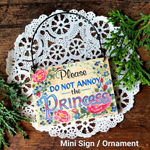 Mini-Sign-PRINCESS-Ornament-Fits-over-Door-Knob-Chic-Cottage-Cute-Decor-USA