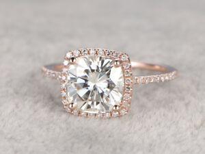 Solid-10K-Rose-Gold-2-2-CTW-Cushion-Cut-Diamond-Halo-Engagement-Ring-For-Women-039-s