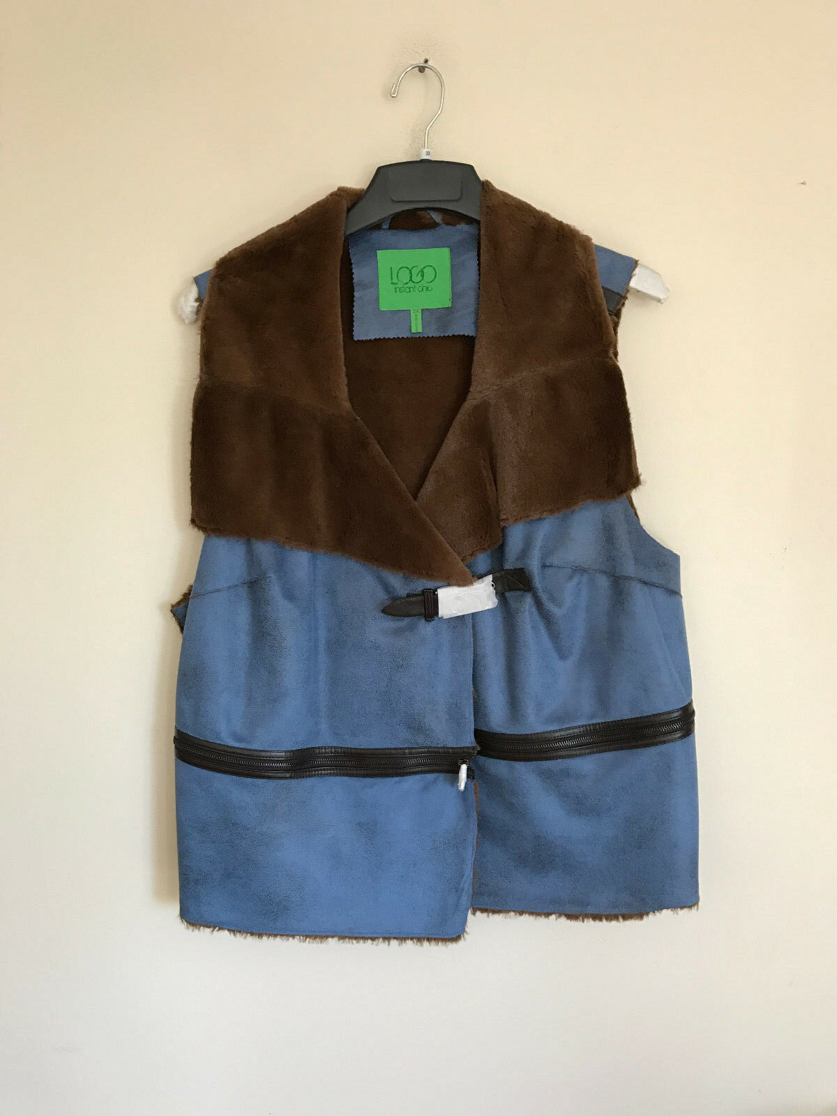 New LOGO Lori goldstein Faux Shearling Vest Zipper Detail bluee A220028  80% OFF