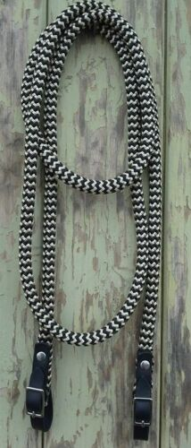 Black Leather SS Buckled End Reins in Black /& Beige Zig Zag  choice of length