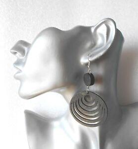 Lightweight Black Wooden Hoop Earrings Clip On Or Pierced Option