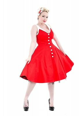 H&R LONDON RED WHT STRAP COCKTAIL HALTER 50s PINUP RETRO PUNK VINTAGE PROM DRESS