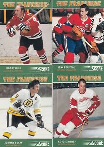 2012-13-PANINI-SCORE-THE-FRANCHISE-lot-of-4-DIFFERENTS-CARDS-beliveau-howe-hull