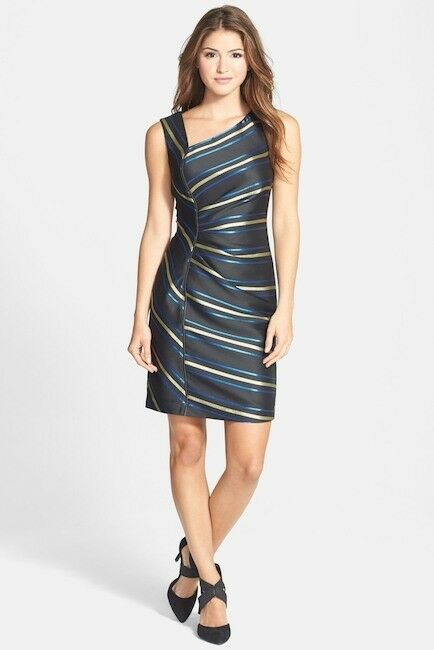 NWT Halogen Halogen Halogen Zip Detail Metallic Stripe Dress MSPR  118 MINOR LOOSE THREAD 8c7f4c