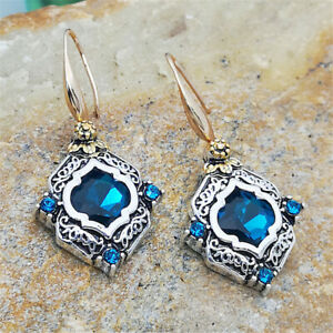 925-Silver-Sapphire-Earrings-18K-Gold-Filled-Ear-Hook-Dangle-Drop-Women-Jewelry
