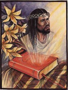 Jesus Christ Bible Art Handmade Christian Oil Canvas Indian Wall