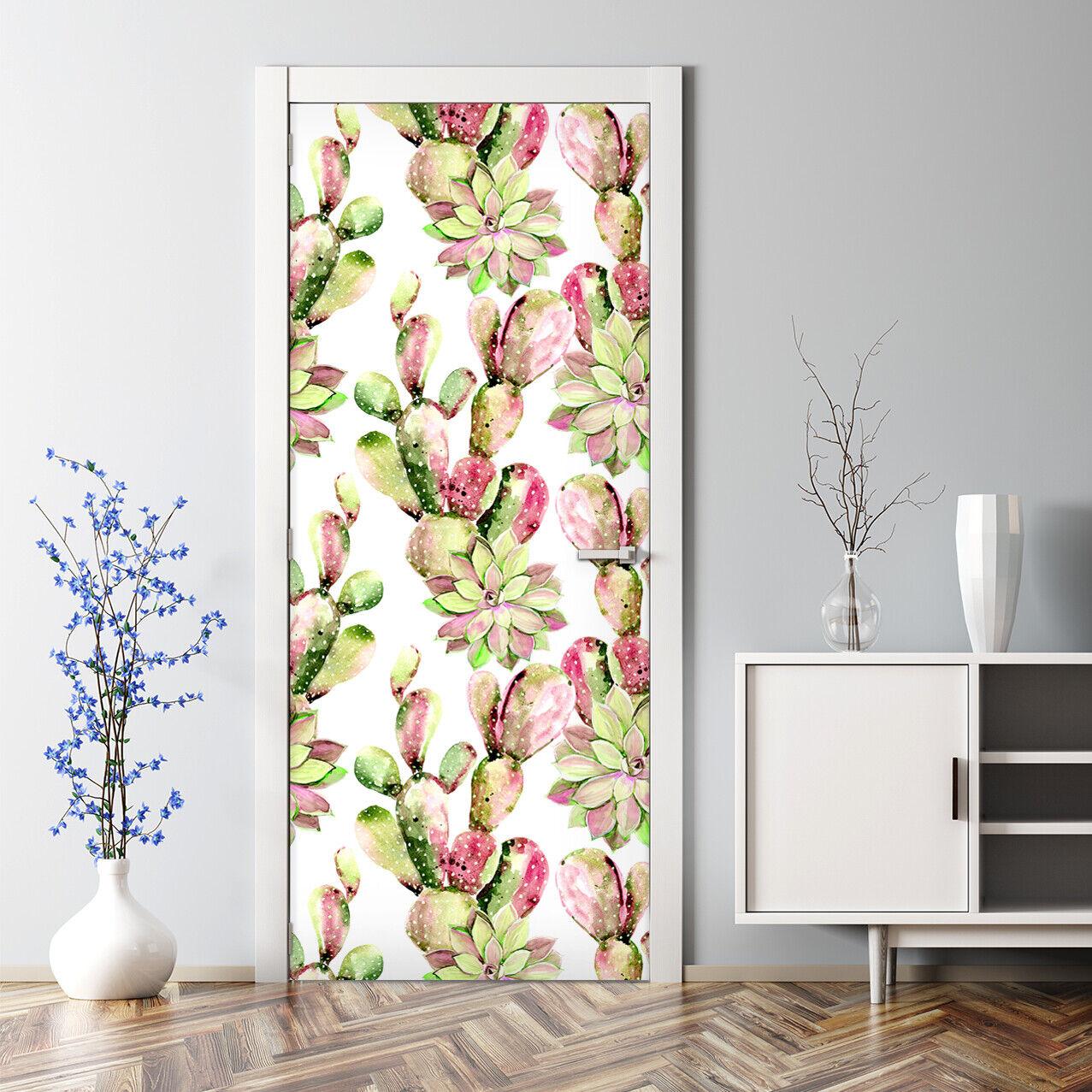 Renters Watercolour Cactus Flower Self Adhesive Door Decal Home Decor