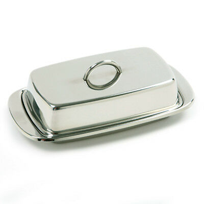 "Norpro New 18/10 Stainless Steel Butter Dish Set Serving Tray 7.5""L X 4""W X 2""H"