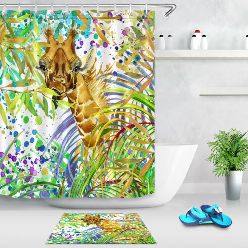 Colorful Giraffe Printing Waterproof Shower Curtain Accessory Tropical Forest