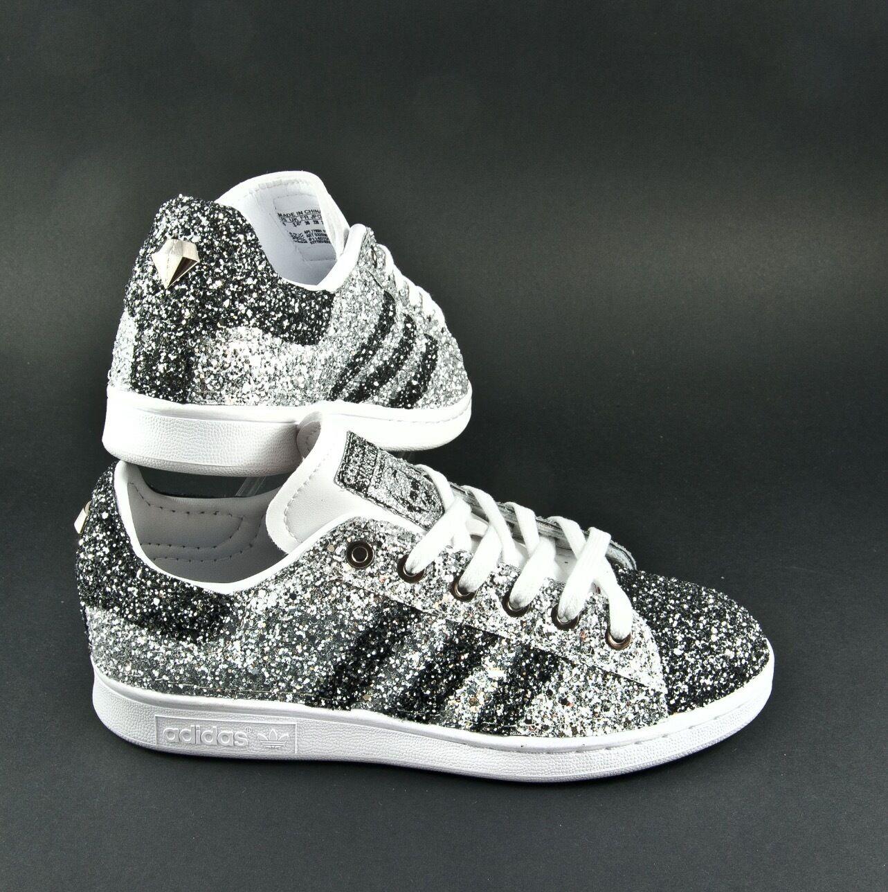 schuhe adidas stan smith  glitter glitter glitter Silber e grau antracite anche sulla punta be9ee4