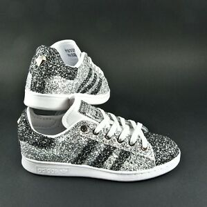 buy cheap a1615 995ab Image is loading Shoes-Adidas-Stan-Smith-Silver-Glitter-and-Grey-