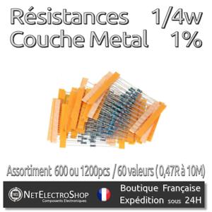 Résistances 1/% Couche Métal 1//4W Lot de 600 ou 1200pcs // 60 valeurs