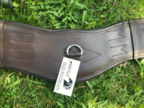 FULL PADDED LEATHER DRESSAGE//EVENT SHORT GIRTH ANATOMICAL SHAPED BROWN ALL SIZES