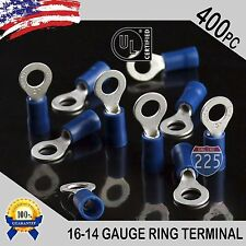 400 PACK 16-14 Gauge #10 Stud Insulated Vinyl Ring Terminals Tin Copper Core US