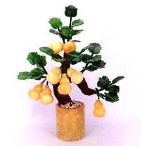 Calabash Jade Plant Tree Bonsai Stone Gemstone Leaves Cucurbit Feng Shui Decor Ebay