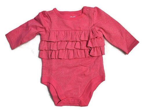New GARANIMALS Girls Long Sleeve Ruffle One PIece Bodysuit 0-3 3-6 12 18 Months