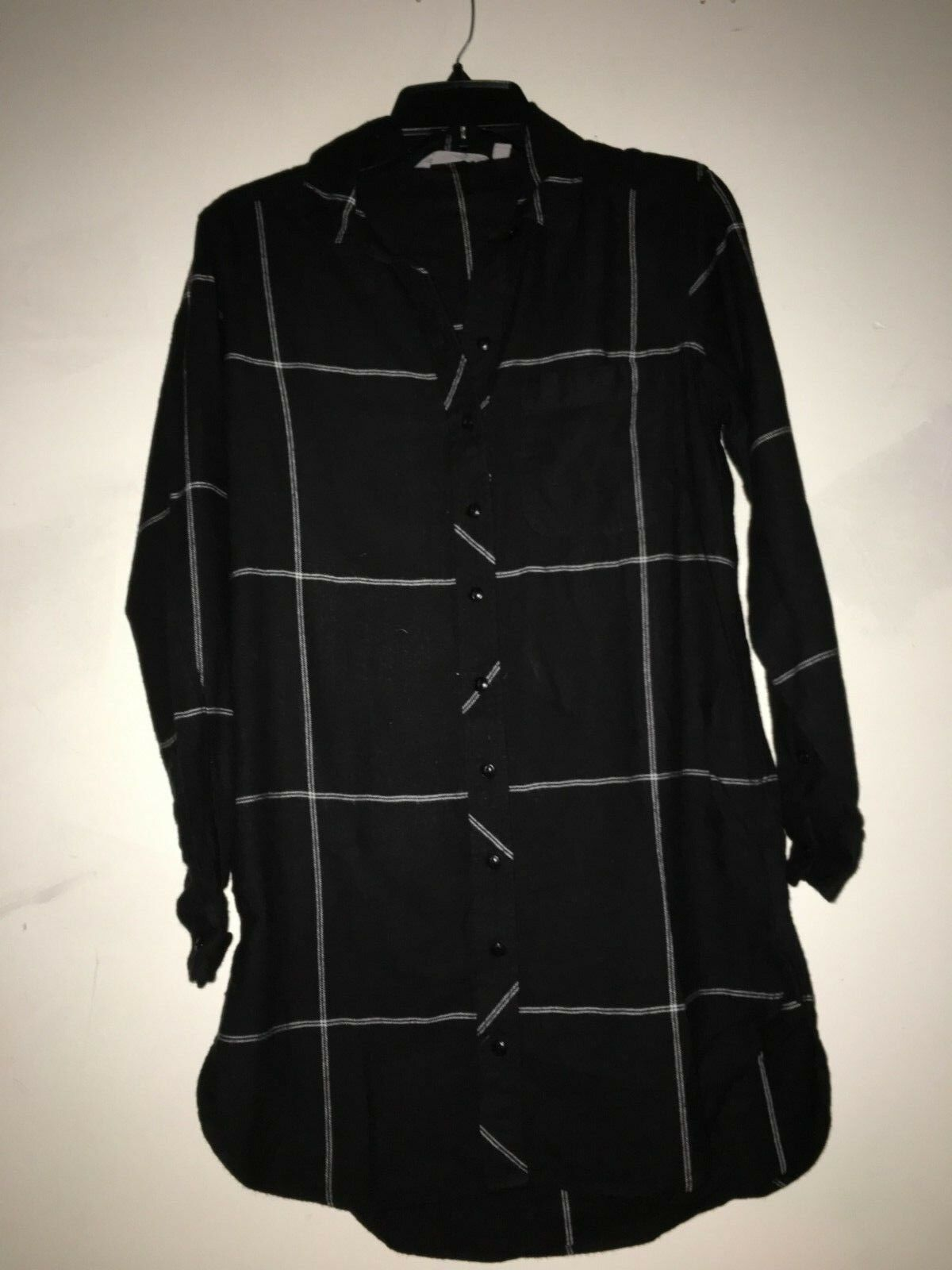 Athleta Plaid schwarz Cream Stripe Shirt Dress Stylish damen Größe XS 100% Cotton
