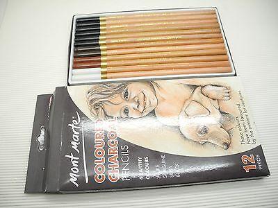 12pcs Mont Marte Coloured Charcoal Pencils 4 Colours Set MPN0042