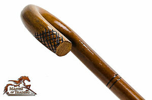Stunning-BEND-BROWN-Wooden-Walking-Stick-Cane-with-Carved-Ornaments