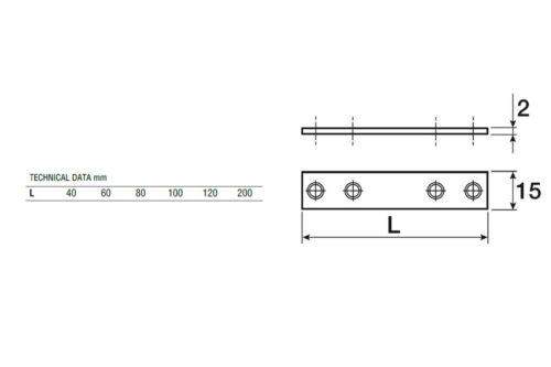 10//50//100 plat Connecteur holzverbinder connexion tôles LOCHBLECH 200//15//2 mm