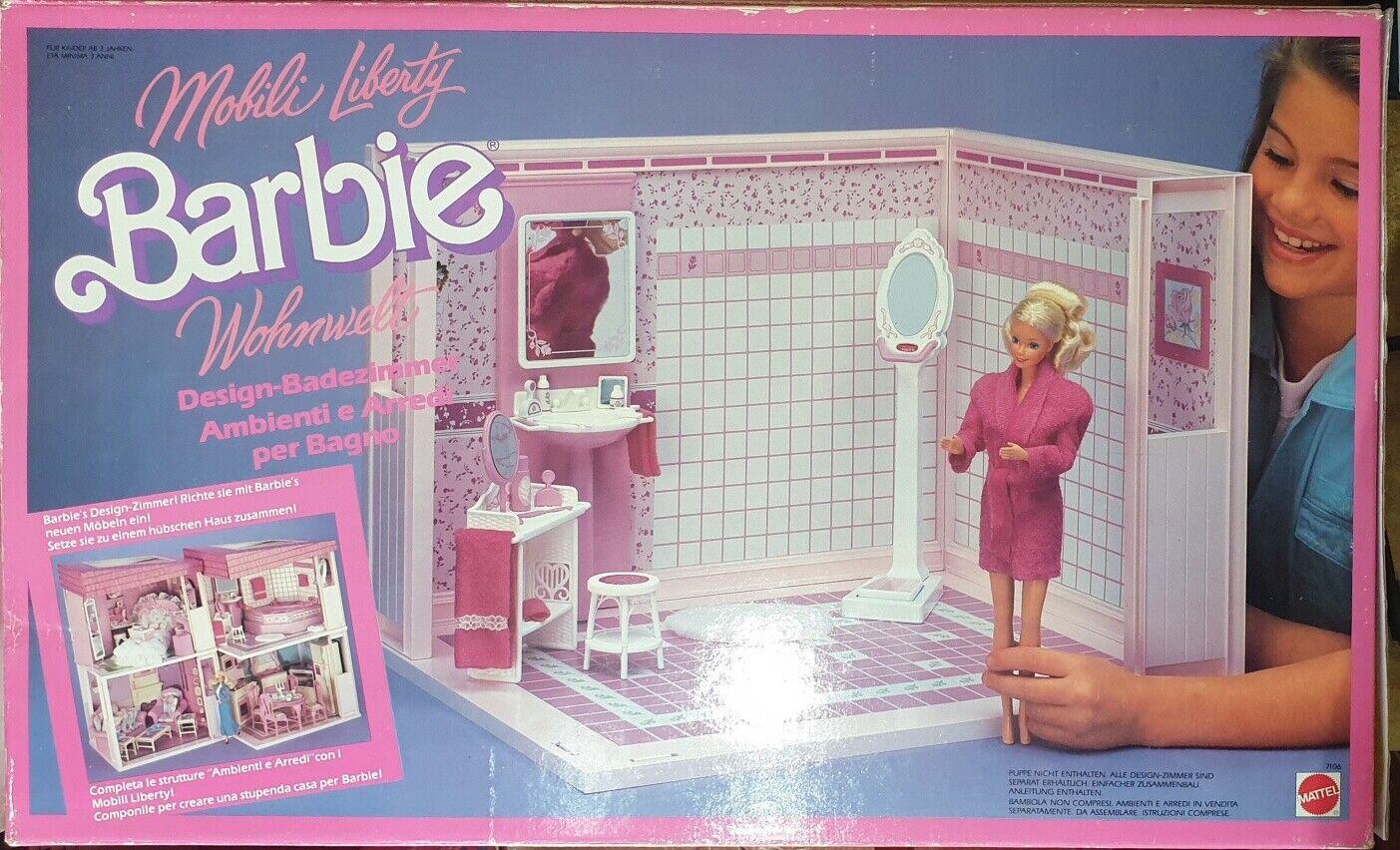 Barbie Mattel  Mobili Liberty - Living Pretty Bathroom Vintage'87 Introvabile