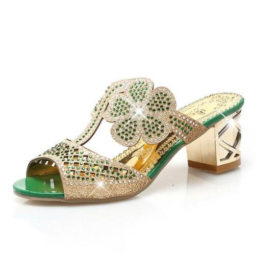 Women/'s Sparkling Sandals Casual Outdoor Wear Square Heel Rhinestone Design Wear