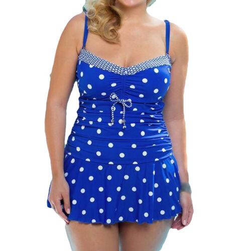 Übergröße Damen Gepunktet Bikini Badeanzug Monokini Schwimmanzug Bademode Gr.50