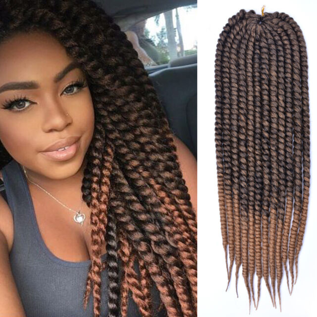 24 Inch Ombre Brown Havana Mambo Twist Braid Hair Crochet Braids
