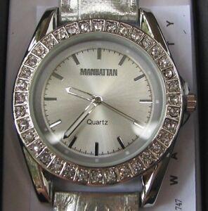 Manhattan By Croton Ladies Quartz Watch With Leather Strap Ebay