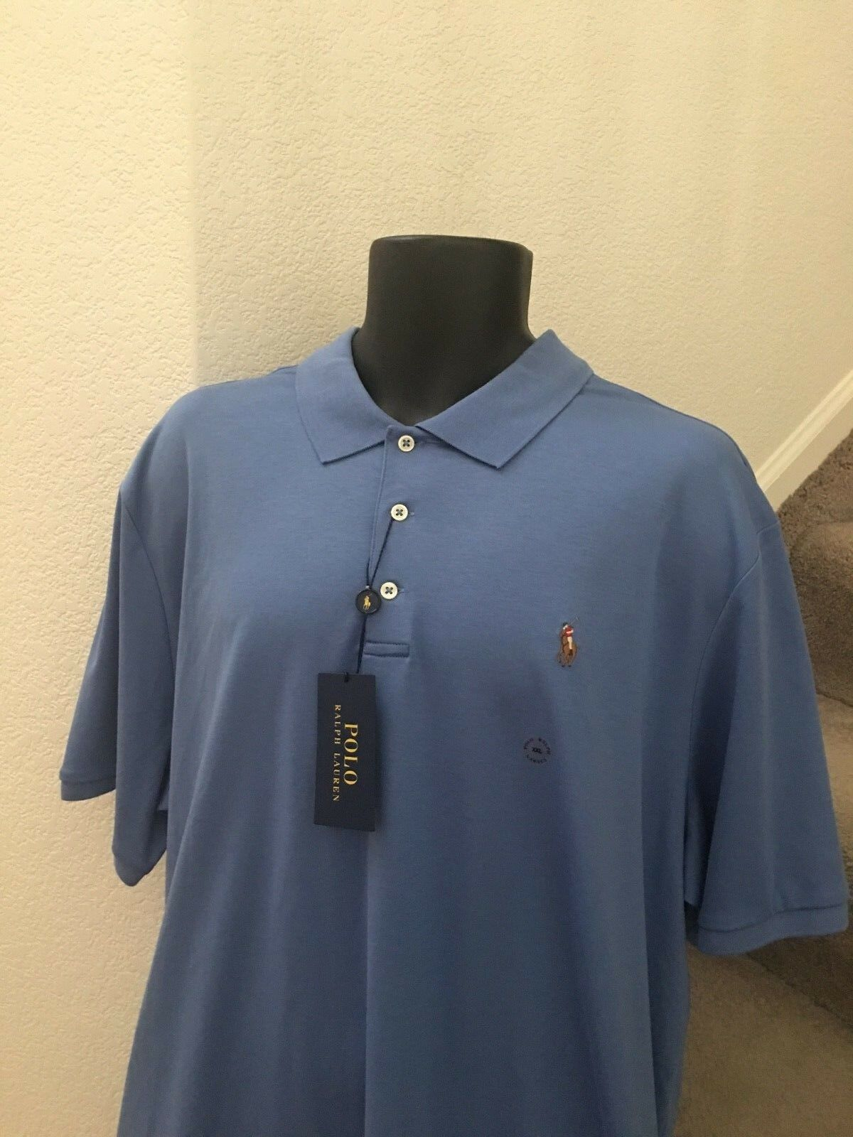 Polo Ralph Lauren Mens Classic Fit Soft Touch Cotton Polo Shirt Size XXL bluee