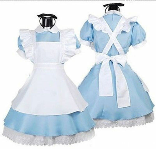 Adult Alice In Wonderland Costume Cosplay Women Girl Maid Fancy Dress Lolita