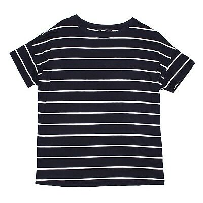 Ladies Ex-M&S Navy Stripe Short Sleeve T-Shirt, Top, Summerware, Quality, Sailor