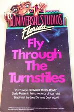 """UNIVERSAL STUDIOS E.T. ET """"Fly Through the Turnstiles"""" Promo Desk SIGN 1989/1990"""