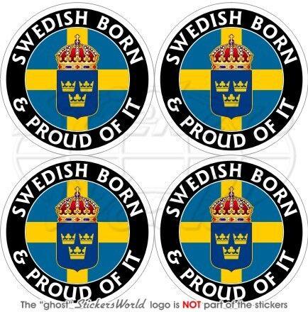 """50mm SUÈDE Suedois Né et Fier Sweden 2/"""" Vinyle Stickers Autocollants x4"""