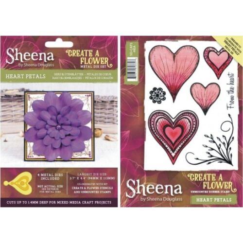 SHEENA DOUGLAS CREATE A FLOWER HEART PETALS 3D METAL DIE AND RUBBER STAMP SET