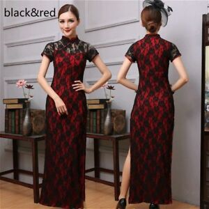 Details About Chinese Floral Mandarin Lady Ethnic Qipao Lace Collar Long Dress Cheongsam Black