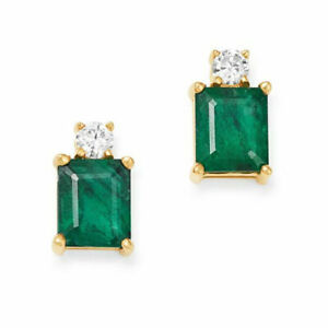 2-00-Ct-Green-Emerald-amp-White-Diamond-Stud-Earrings-14k-Yellow-Gold-Finish
