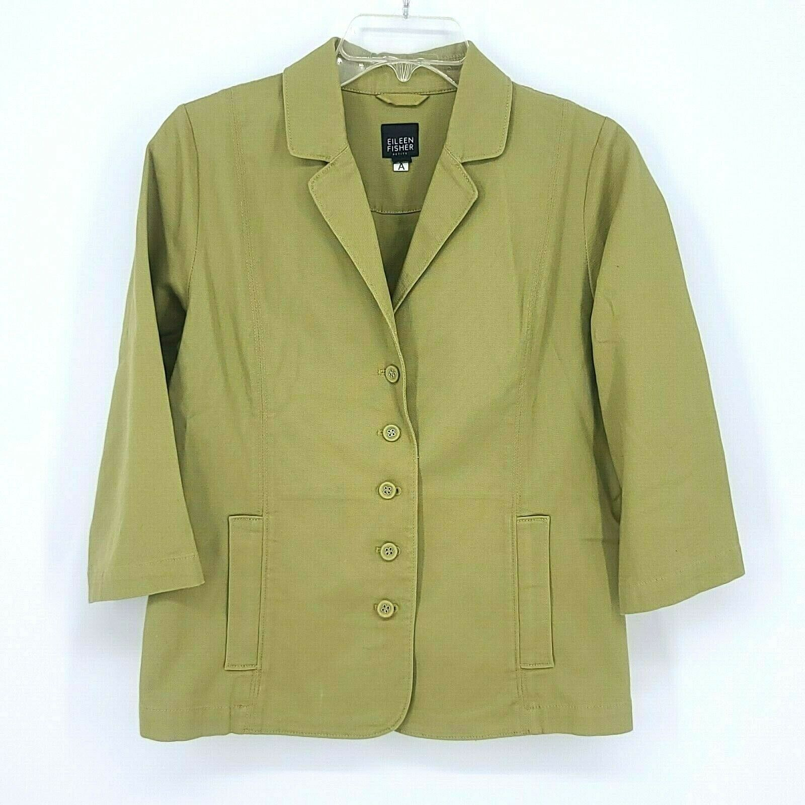 Eileen Fisher Womens Button Front 3/4 sleeve Jacket Size Small Petite