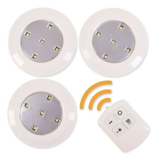 3x LED PUSH LIGHTS 95mm Easy Fit Touch Button Stick On Self Adhesive Down Spot