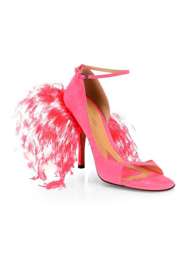 Valentino Garavani Suede & Feather High-Heel Sandals 36.5 MSRP   1,245.00