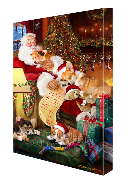 Happy Holidays Santa Sleeping Corgi Hund Christmas Canvas Wand Kunst