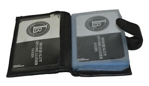 CREDIT-CARD-PICTURE-HOLDER-32-PAGES-WITH-SNAP-NEW-BLACK-GENUINE-LEATHER