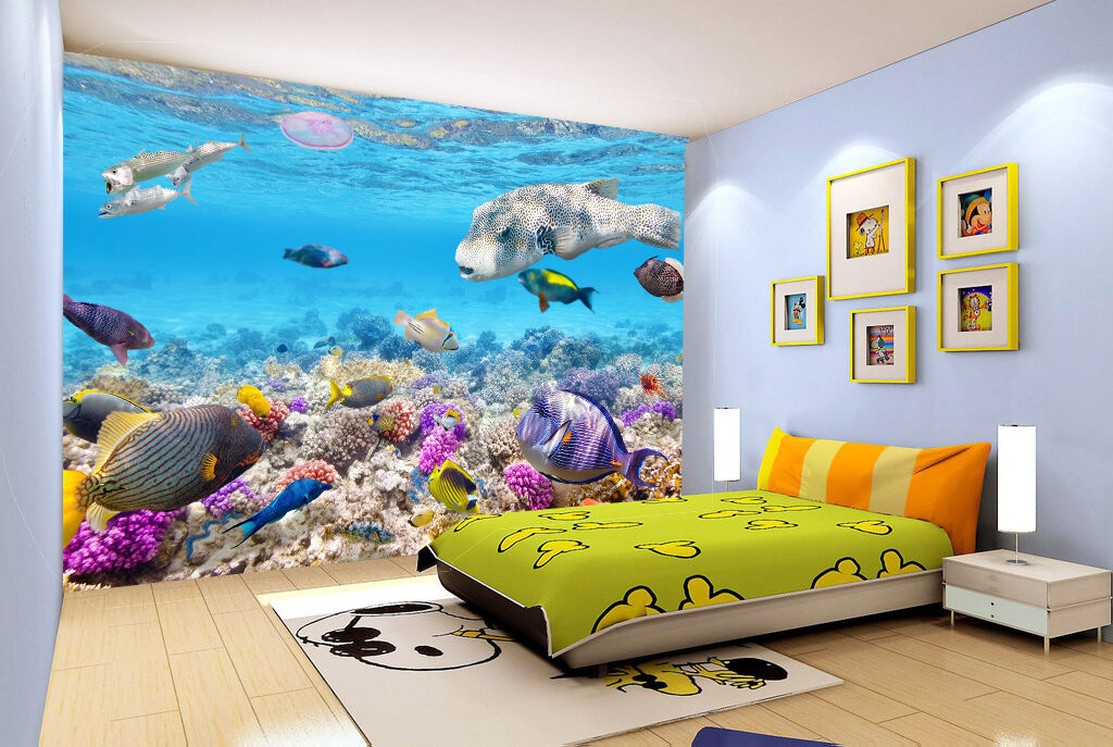 3D seabed shell Fish wall Paper Print Print Print Decal Wall Deco Indoor wall Mural dad559