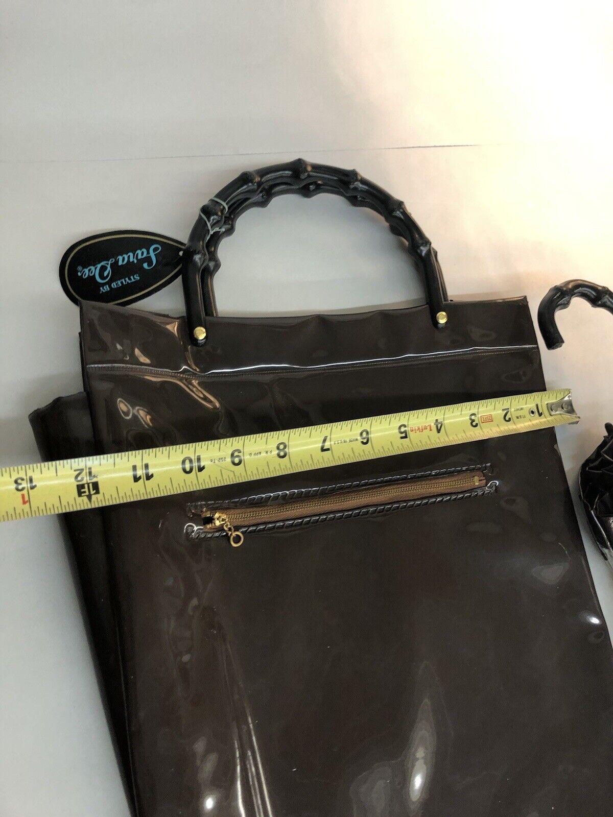 Vintage 60-70's Brown purse handbag carrying case… - image 10