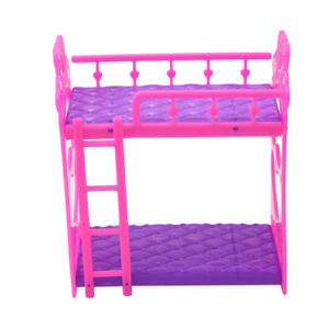 Mini Dollhouse Furniture Doll Plastic Bunk Bed Barbie House Toy Gift