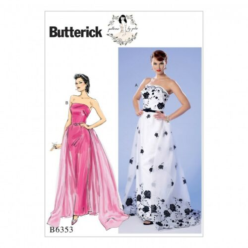 Butterick Ladies Sewing Pattern 6353 Strapless Dress Detachable Train /& ...