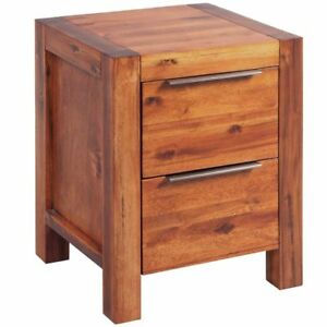 vidaXL-Solid-Acacia-Wood-Bedside-Table-Cabinet-2-Drawers-Nightstand-Storage